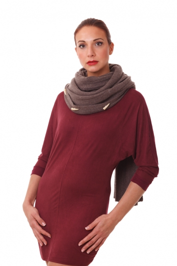 2 in 1: Kombi Schal & Poncho, Strick, 100% Kaschmir, coffee
