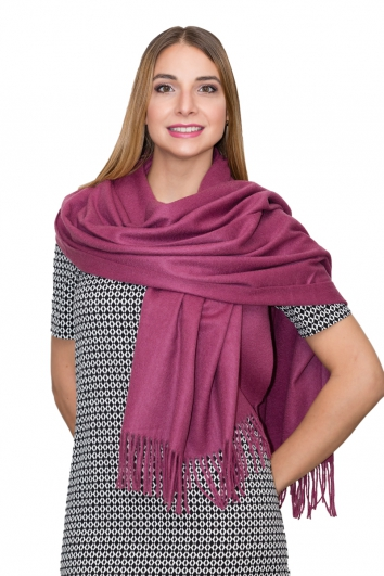 100% Kaschmir Stola purple red, 70 x 200 cm, Herbst/Winter