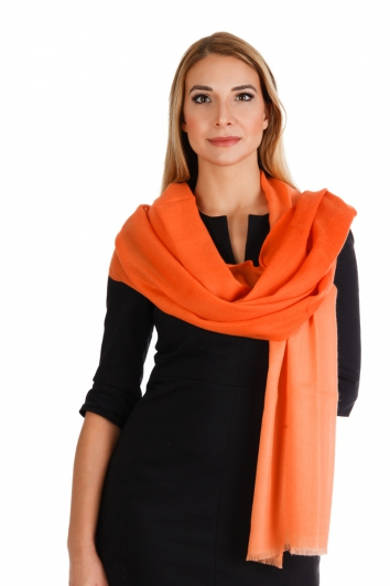 Pashmina Stola 100% Kaschmir, 70 x 200 cm, Multicolor - orange
