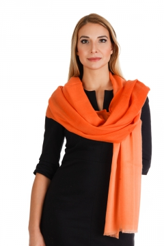 Pashmina Stola bunt 100% Kaschmir, 70 x 200 cm, Multicolor - orange